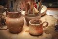 Handmade old clay pots Royalty Free Stock Photo