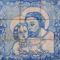 Handmade old tiles with jesus on a wall in ponta delgada sao miguel azores Royalty Free Stock Photos