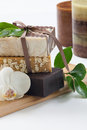 Handmade organic soap spa set assorted vanilla and cocoa butter with white orchid flower best suited for relaxing and health Stock Photos