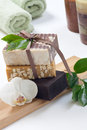 Handmade organic soap spa set assorted vanilla and cocoa butter with white orchid flower best suited for relaxing and health Royalty Free Stock Images