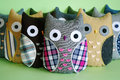 Handmade owl toys and crafted soft Stock Images