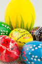 Handmade painted easter eggs on white Stock Photography