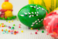 Handmade painted easter eggs on white Royalty Free Stock Photos