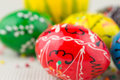 Handmade painted easter eggs on white Royalty Free Stock Image