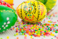 Handmade painted easter eggs on white Royalty Free Stock Images