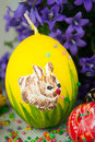 Handmade painted easter eggs on white Stock Image