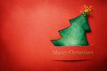 Handmade paper craft chrsitmas tree christmas with merry christmas text Royalty Free Stock Photography