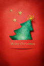 Handmade paper craft chrsitmas tree christmas with merry christmas text and stars Stock Images