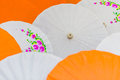 Handmade paper umbrella in Chiang Mai for background