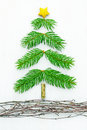 Handmade pine bough christmas tree from real natural boughs and vines Royalty Free Stock Images