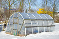 Handmade polythene greenhouse vegetable winter time snow Royalty Free Stock Photo