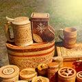 Handmade products made of birch bark.
