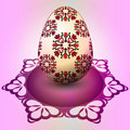 Handmade red floral easter egg tray illustration Stock Photo