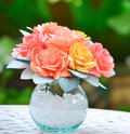 Handmade a roses made from paper coffee filter add vase to decorate the garden Royalty Free Stock Image