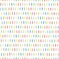 Vertical broken stripes in rainbow colors. Dashes vertical. Seamless surface pattern vector design with strokes. Blue, green,