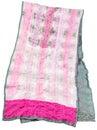 Handmade sewing green and pink batik silk scarf Royalty Free Stock Photo