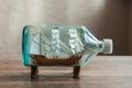 Handmade ship in a bottle