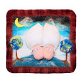 Handmade sleeping sheeps panno with made of felt isolated on white background Stock Images
