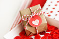 Handmade small gift box with heart tag and twine cords Stock Photo