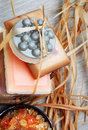 Handmade soap bars in the basket. Royalty Free Stock Photography