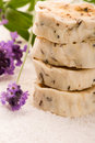 Handmade Soap With Fresh Lavender Flowers Stock Photography