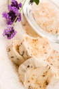 Handmade Soap With Fresh Lavender Flowers Royalty Free Stock Photography