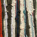 Handmade  Striped colorful rag rug texture background. Royalty Free Stock Photo