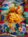 Handmade sun russian folk art created by children and their tutors in a kindergarden Stock Image