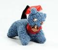 Handmade textile toy cat closeup shot a fabric Royalty Free Stock Image