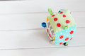handmade toy dice pillow with copy space Royalty Free Stock Photo