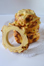 Handmade traditional baumkuchen layer cake baked over fire Royalty Free Stock Photo