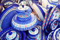 Handmade traditional polish pottery on market set Stock Images