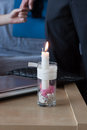 A handmade Valentine candle