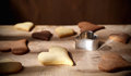Handmade vanilla and cocoa flavoured biscuits close up of fresh Stock Photography