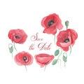 Handmade watercolor illustration of poppies