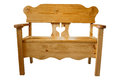Handmade wooden bench isolated picture of a with a storage area in the Royalty Free Stock Image