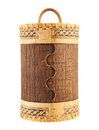 Handmade wooden cylindrical case Stock Images