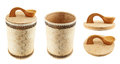 Handmade wooden cylindrical case isolated over white background set of two foreshortenings and two caps Stock Image
