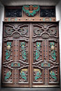 Handmade Wooden Door with Mexican Symbols Stock Images