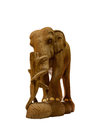 Handmade wooden elephant close-up on white background isolated Royalty Free Stock Photo