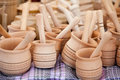 Handmade wooden pounder, pestle handicraft market Stock Photography