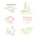 Handmade workshop logo set for painting cross stitching sewing and knitting.