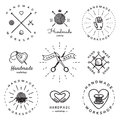 Handmade workshop logo vintage vector set. Hipster and retro style. Royalty Free Stock Photo