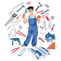 Handyman with tools Royalty Free Stock Photo