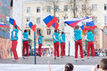 Handover ceremony of the olympic flame tver october at constitution square october tver russia arrived in tver Royalty Free Stock Images
