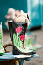 Handpainted gumboots Royalty Free Stock Photo