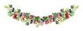 Handpainted watercolor wreath of wood berries