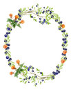 Handpainted watercolor wreath of wood berries