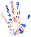 Handprint of a Great Britan flag on a white Royalty Free Stock Photo