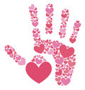 Handprint of hearts on a white background Royalty Free Stock Photo